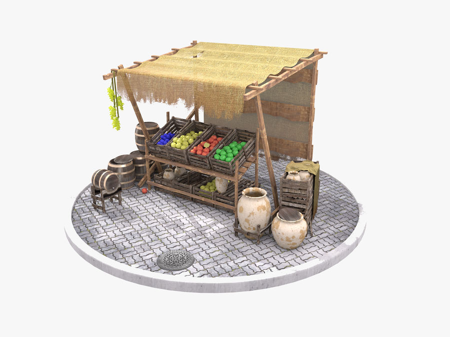 Vintage market stall royalty-free 3d model - Preview no. 1
