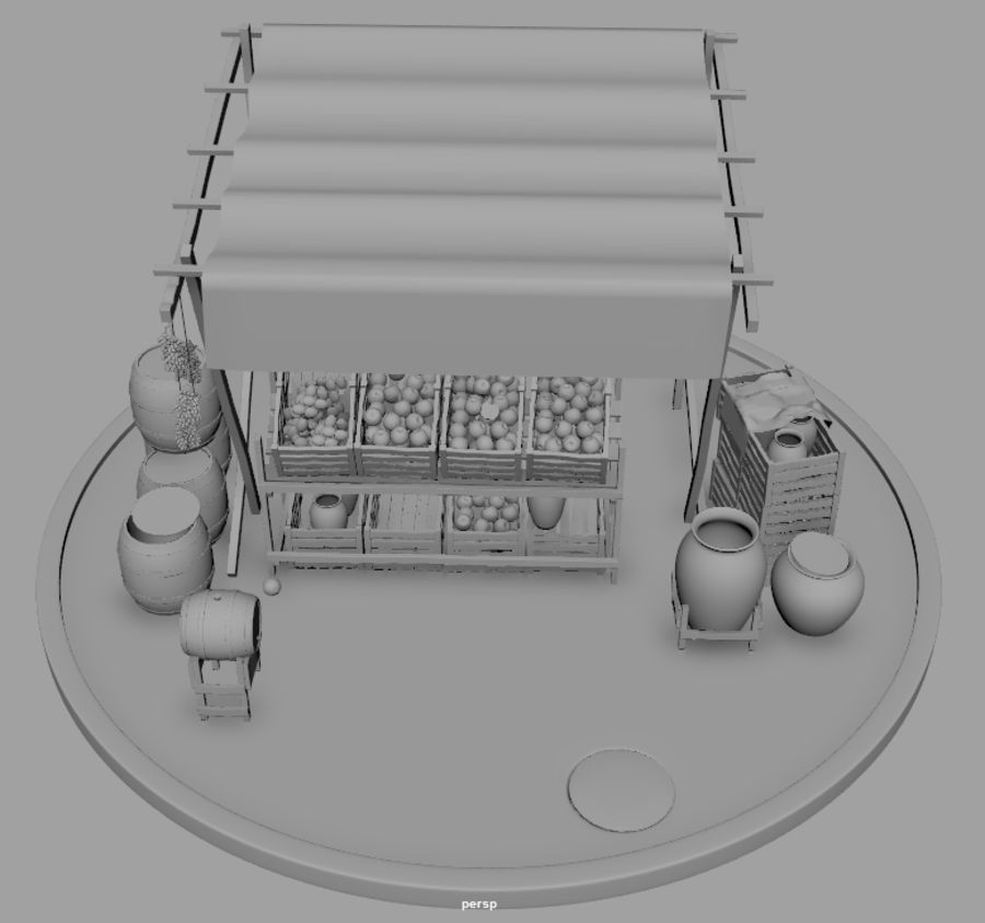 Vintage market stall royalty-free 3d model - Preview no. 11