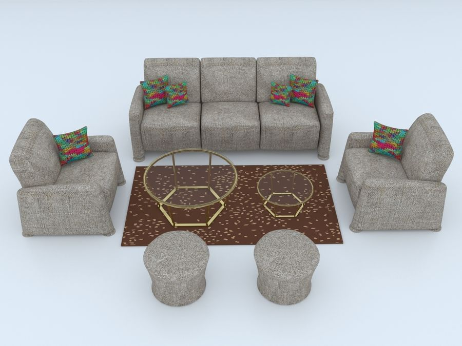 conjunto de sofá e mesa de centro royalty-free 3d model - Preview no. 1