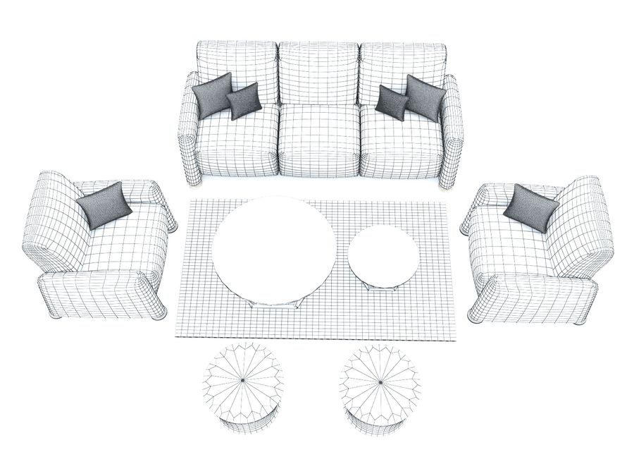 conjunto de sofá e mesa de centro royalty-free 3d model - Preview no. 6