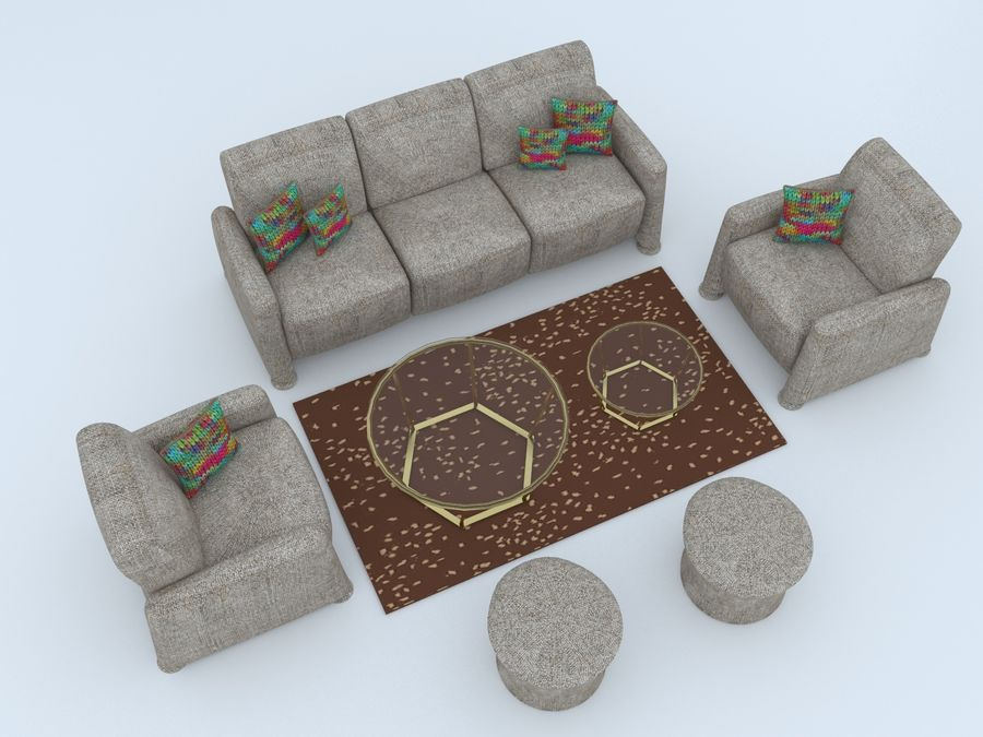 conjunto de sofá e mesa de centro royalty-free 3d model - Preview no. 2