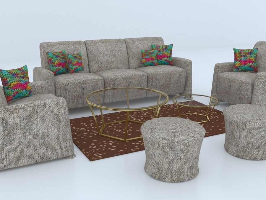 conjunto de sofá e mesa de centro royalty-free 3d model - Preview no. 3