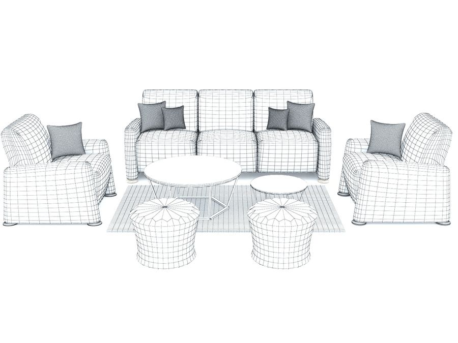 conjunto de sofá e mesa de centro royalty-free 3d model - Preview no. 4
