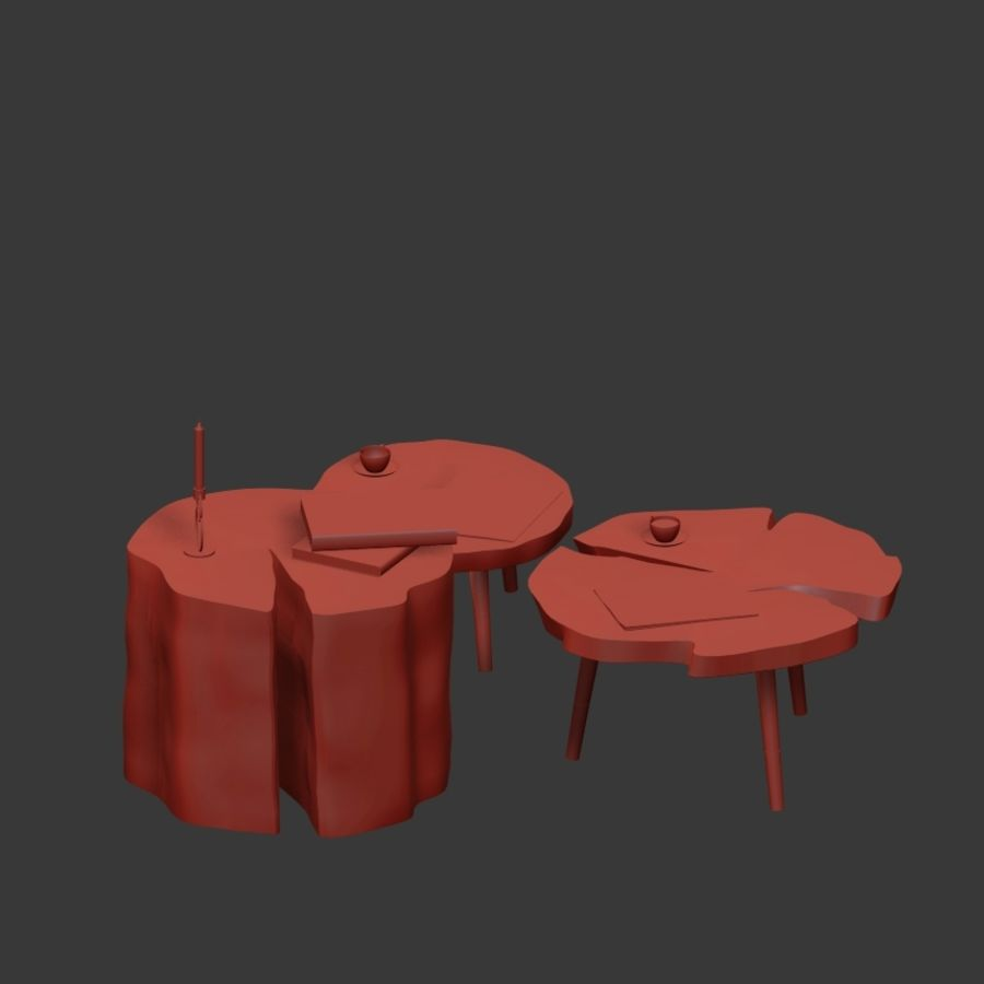그루터기와 슬래브에서 커피 테이블 세트 royalty-free 3d model - Preview no. 20