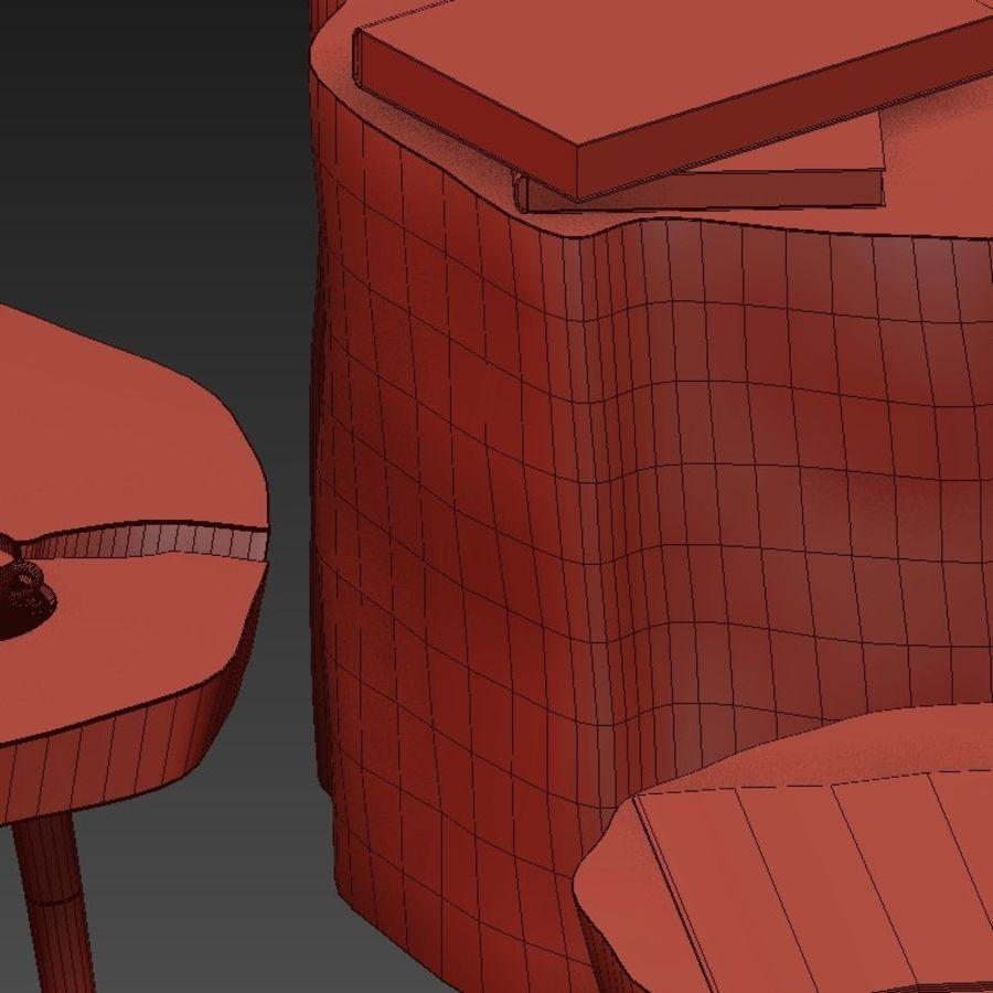 그루터기와 슬래브에서 커피 테이블 세트 royalty-free 3d model - Preview no. 42