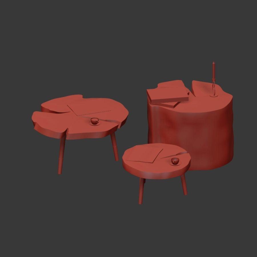 그루터기와 슬래브에서 커피 테이블 세트 royalty-free 3d model - Preview no. 34