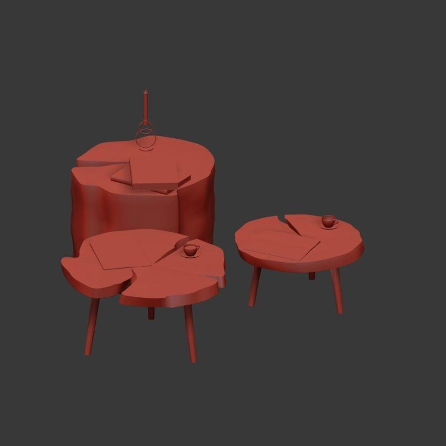 그루터기와 슬래브에서 커피 테이블 세트 royalty-free 3d model - Preview no. 13