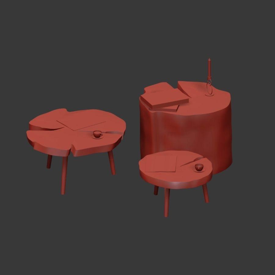 그루터기와 슬래브에서 커피 테이블 세트 royalty-free 3d model - Preview no. 36