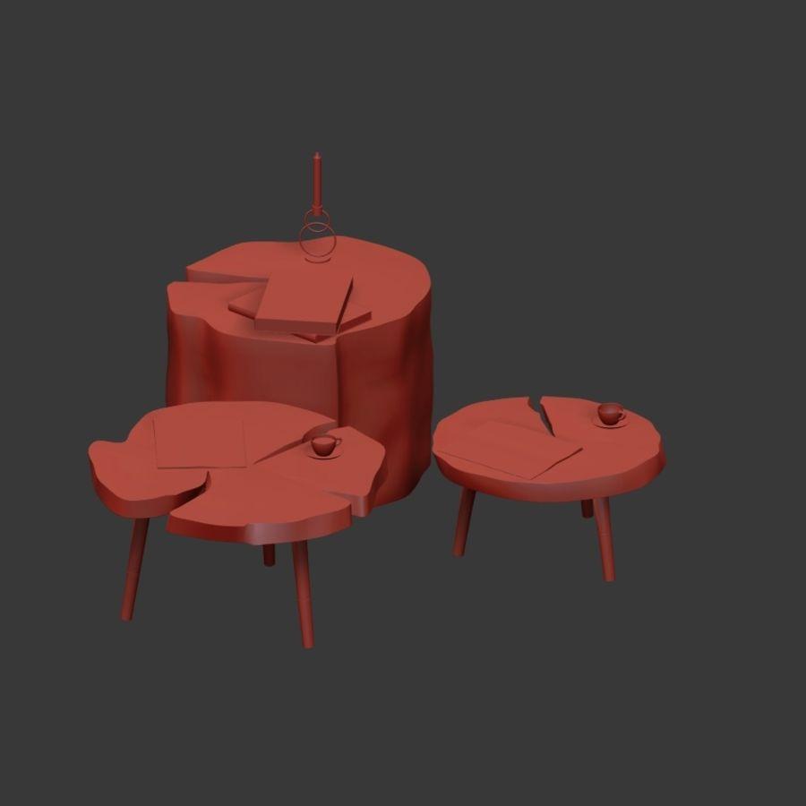 그루터기와 슬래브에서 커피 테이블 세트 royalty-free 3d model - Preview no. 12