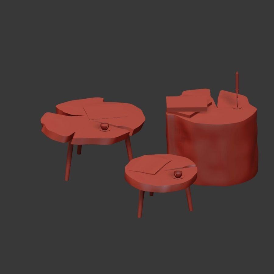 그루터기와 슬래브에서 커피 테이블 세트 royalty-free 3d model - Preview no. 33