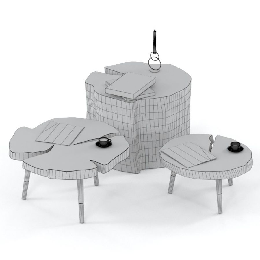 그루터기와 슬래브에서 커피 테이블 세트 royalty-free 3d model - Preview no. 3