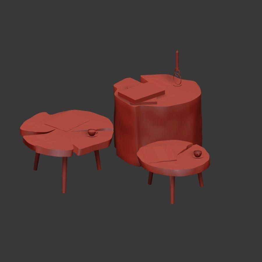 그루터기와 슬래브에서 커피 테이블 세트 royalty-free 3d model - Preview no. 6