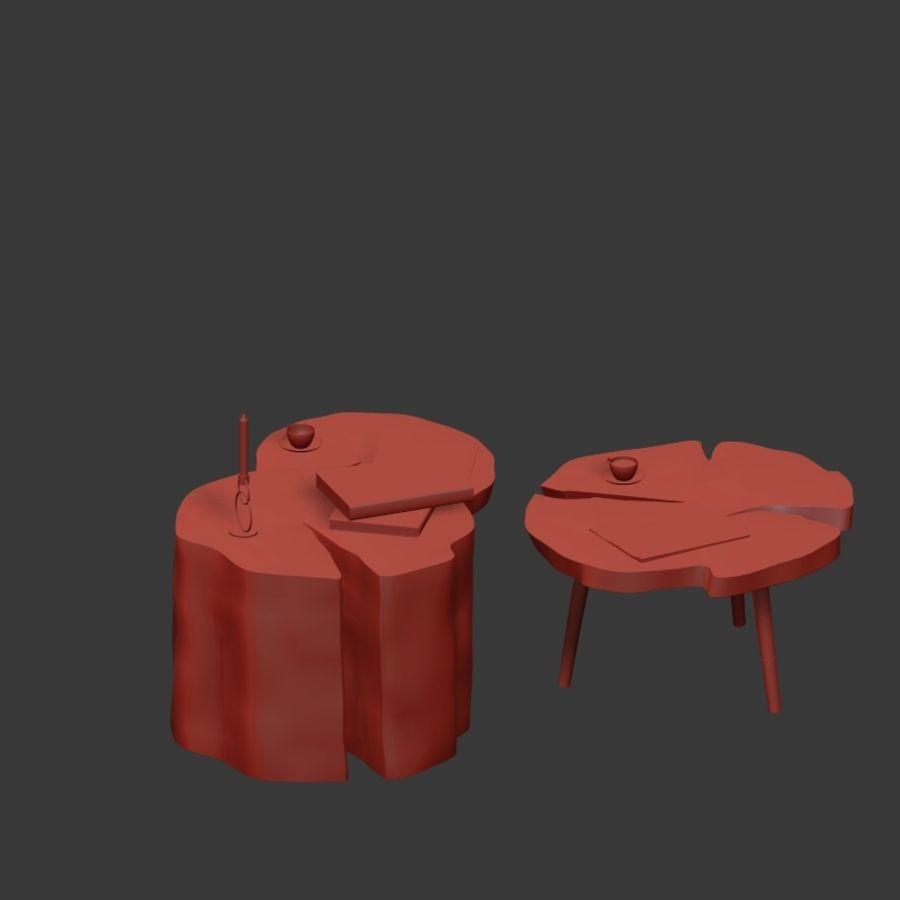 그루터기와 슬래브에서 커피 테이블 세트 royalty-free 3d model - Preview no. 21
