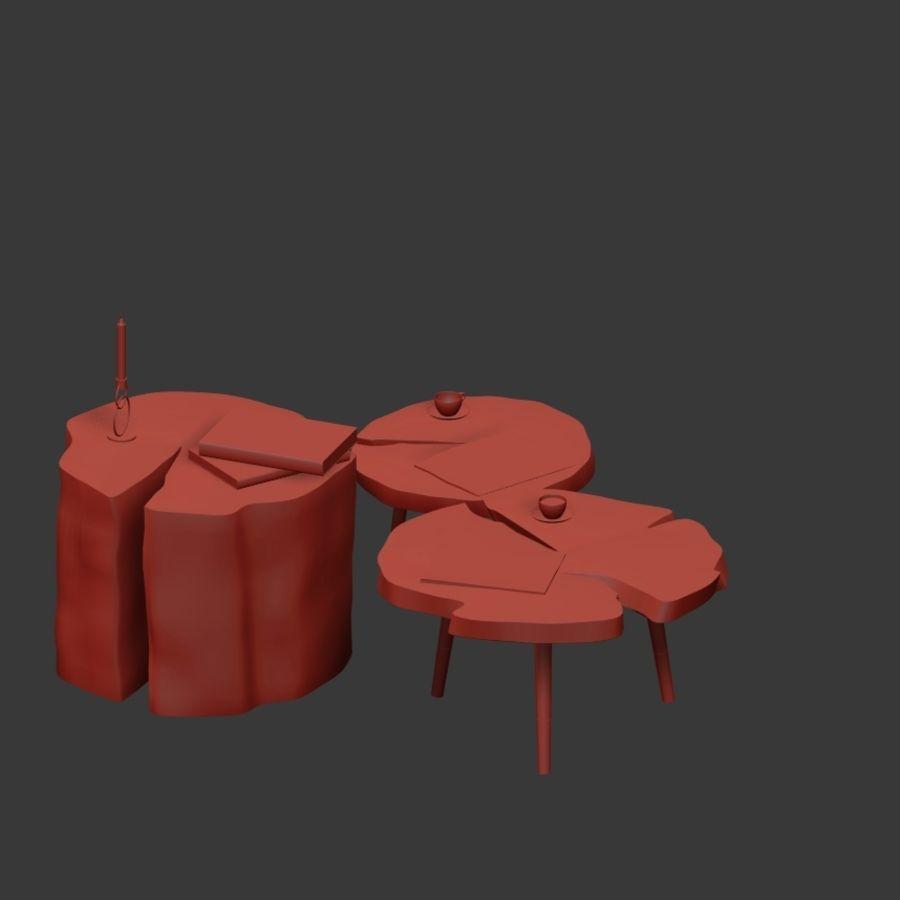 그루터기와 슬래브에서 커피 테이블 세트 royalty-free 3d model - Preview no. 18