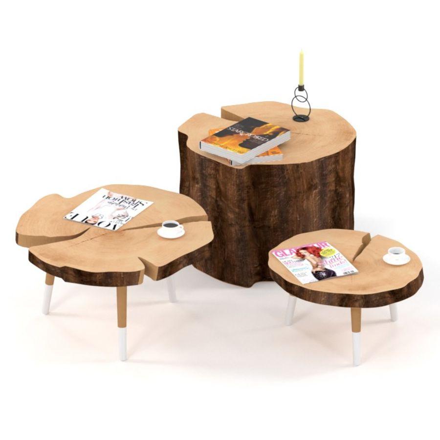 그루터기와 슬래브에서 커피 테이블 세트 royalty-free 3d model - Preview no. 1