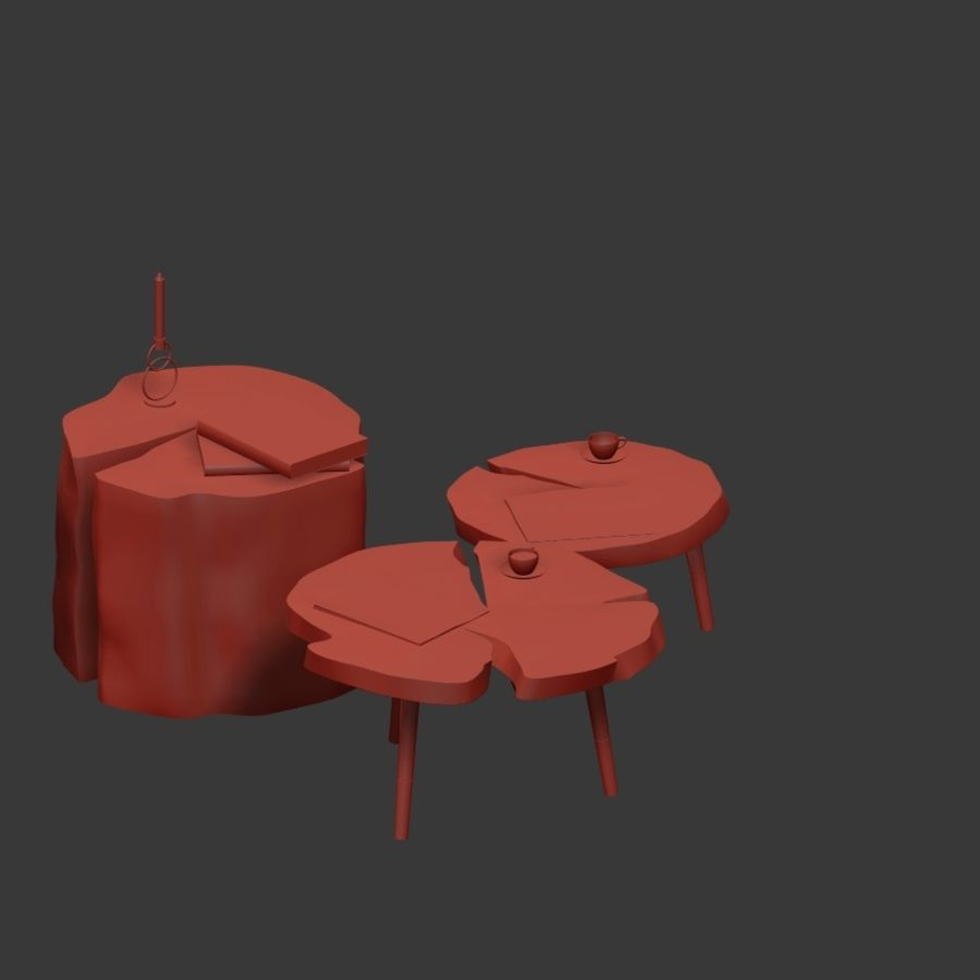 그루터기와 슬래브에서 커피 테이블 세트 royalty-free 3d model - Preview no. 16