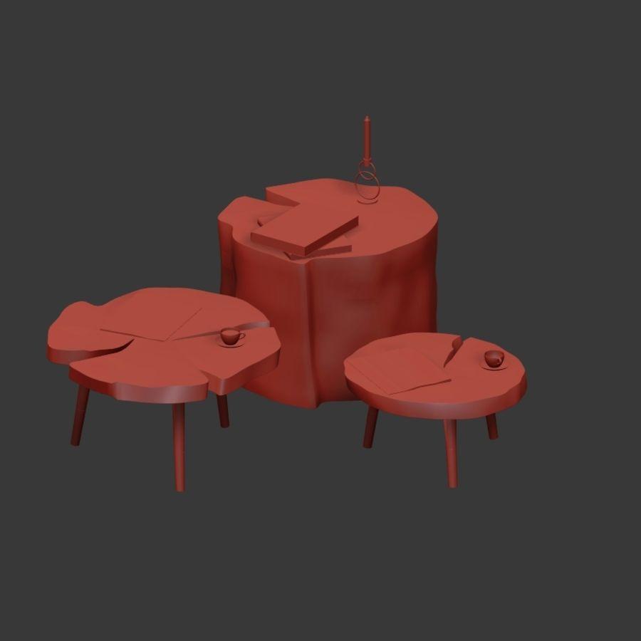 그루터기와 슬래브에서 커피 테이블 세트 royalty-free 3d model - Preview no. 9
