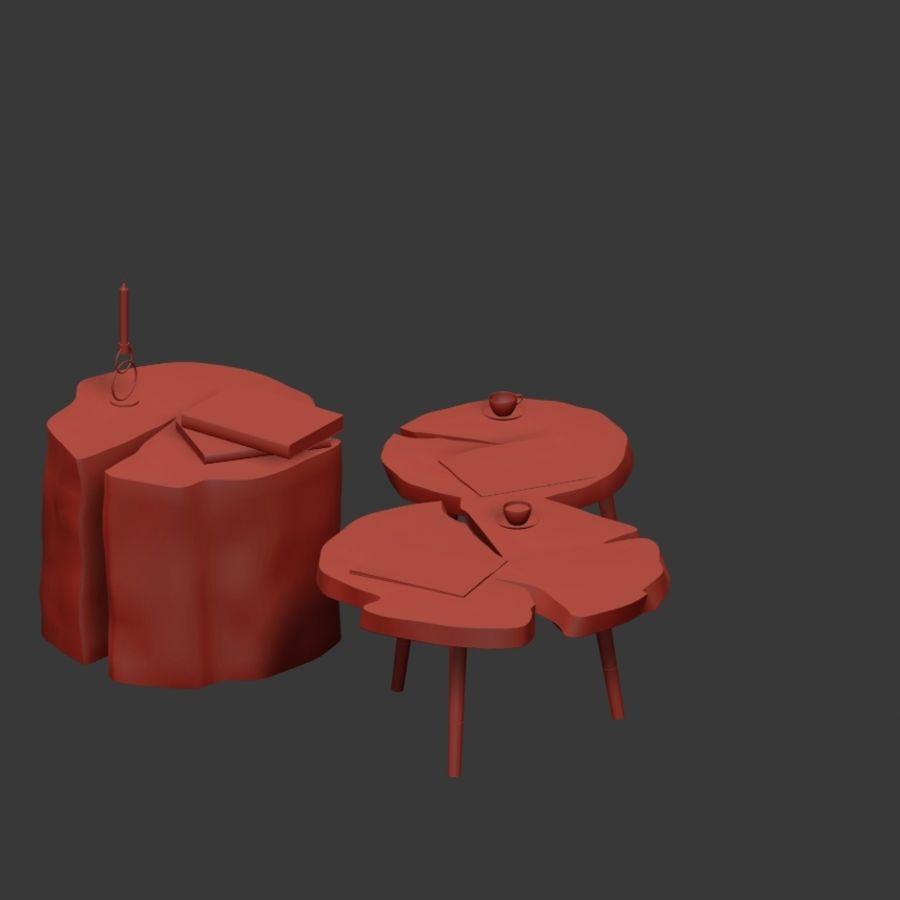 그루터기와 슬래브에서 커피 테이블 세트 royalty-free 3d model - Preview no. 17