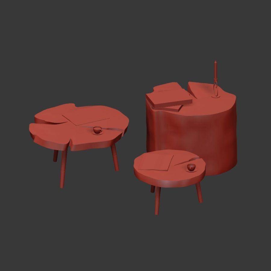 그루터기와 슬래브에서 커피 테이블 세트 royalty-free 3d model - Preview no. 35