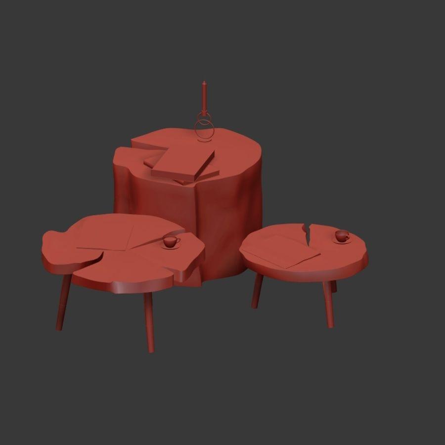 그루터기와 슬래브에서 커피 테이블 세트 royalty-free 3d model - Preview no. 11