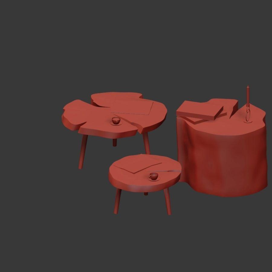 그루터기와 슬래브에서 커피 테이블 세트 royalty-free 3d model - Preview no. 31