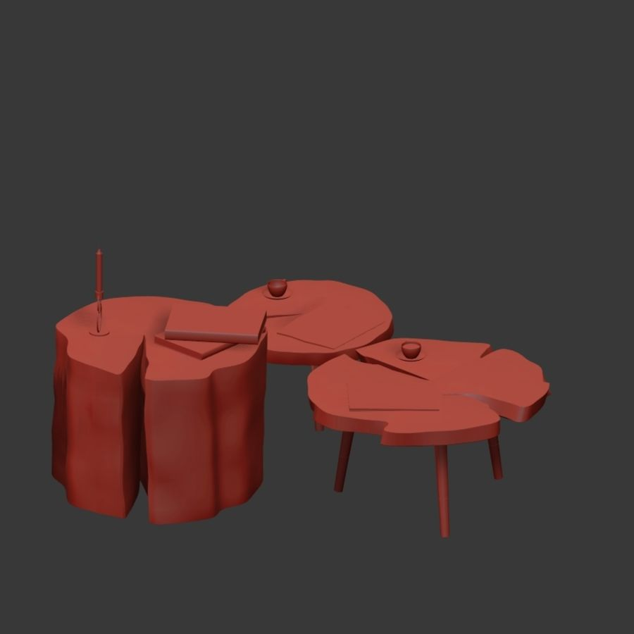 그루터기와 슬래브에서 커피 테이블 세트 royalty-free 3d model - Preview no. 19