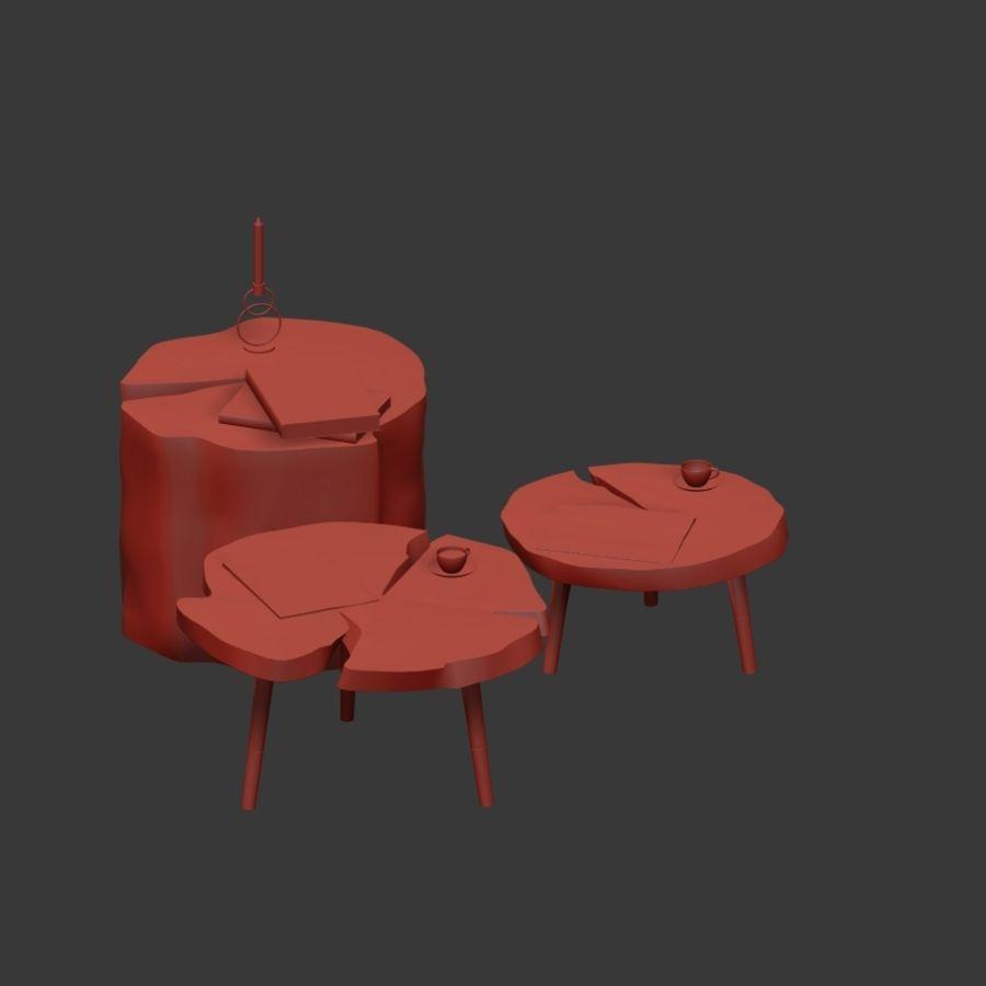 그루터기와 슬래브에서 커피 테이블 세트 royalty-free 3d model - Preview no. 14