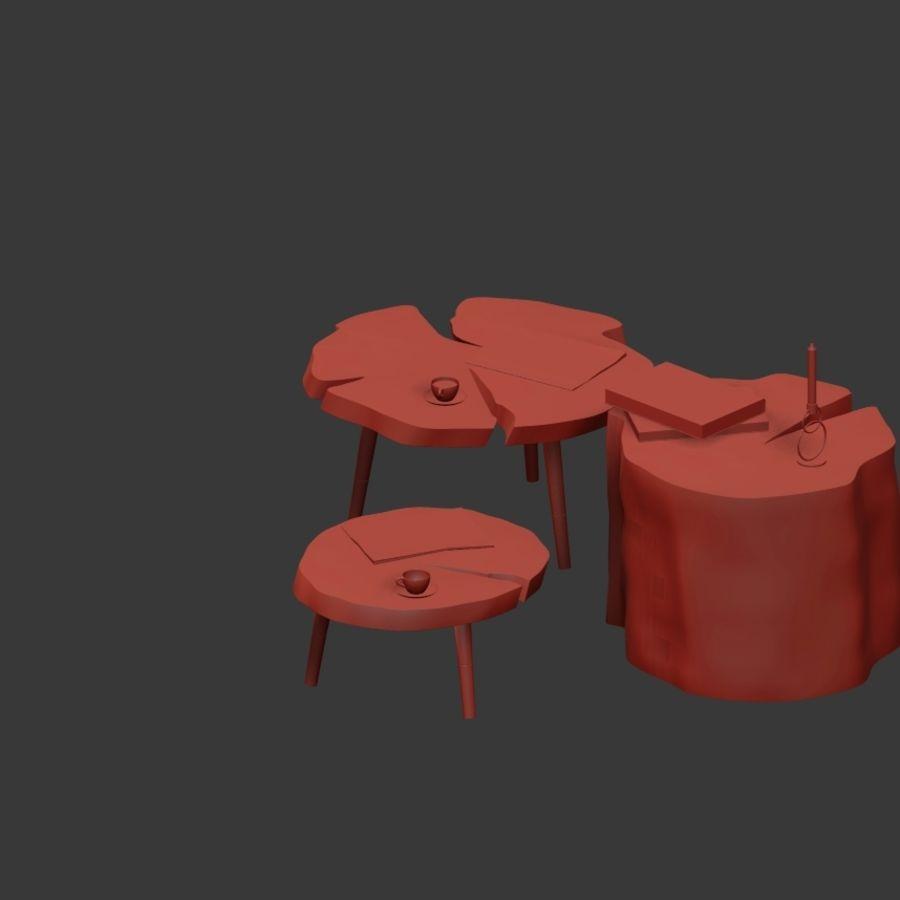 그루터기와 슬래브에서 커피 테이블 세트 royalty-free 3d model - Preview no. 29