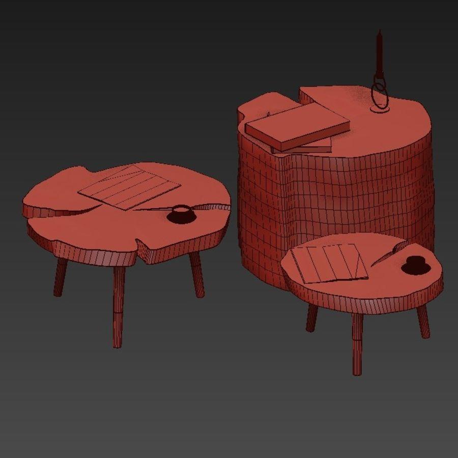 그루터기와 슬래브에서 커피 테이블 세트 royalty-free 3d model - Preview no. 41