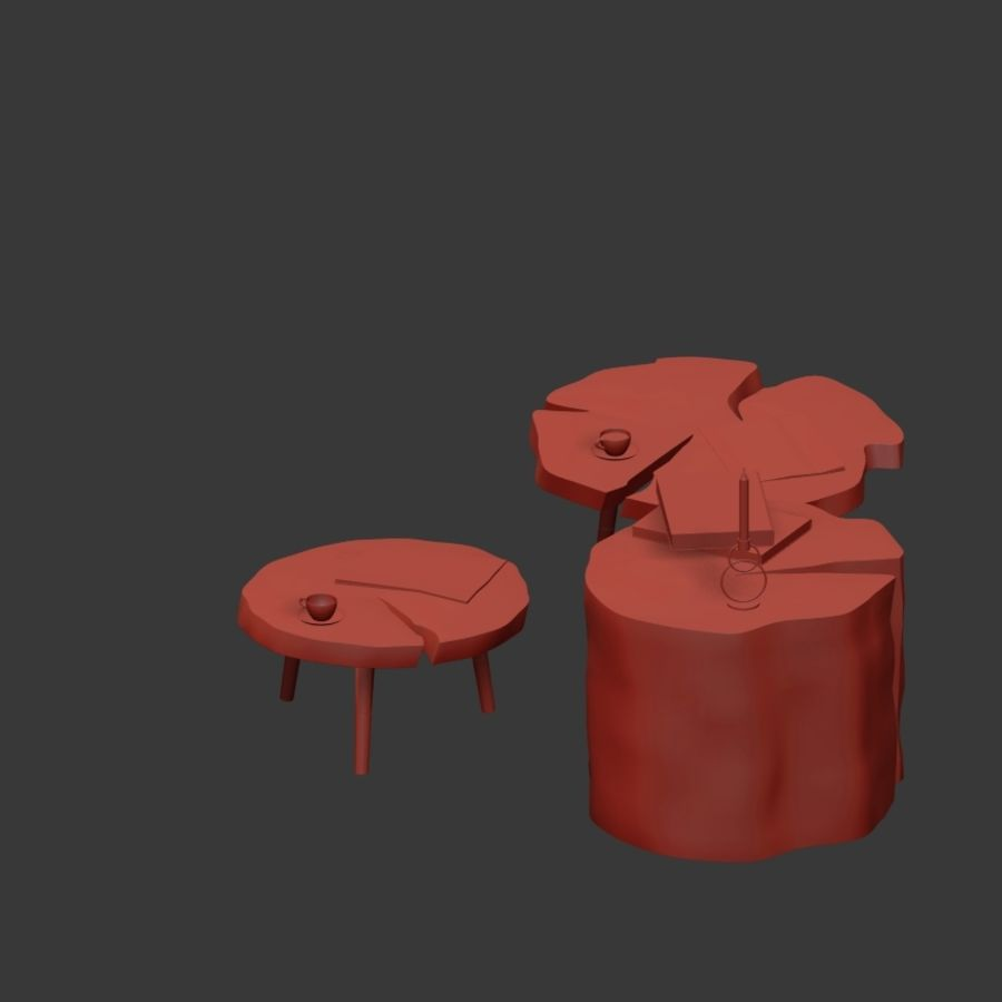 그루터기와 슬래브에서 커피 테이블 세트 royalty-free 3d model - Preview no. 26