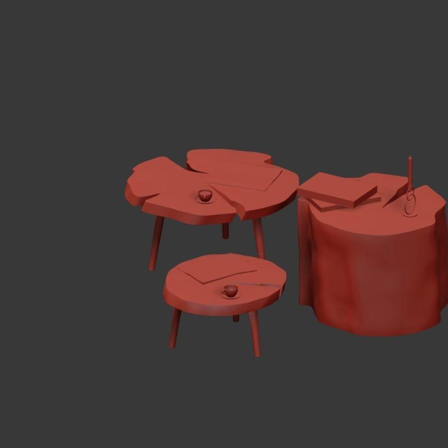 그루터기와 슬래브에서 커피 테이블 세트 royalty-free 3d model - Preview no. 30