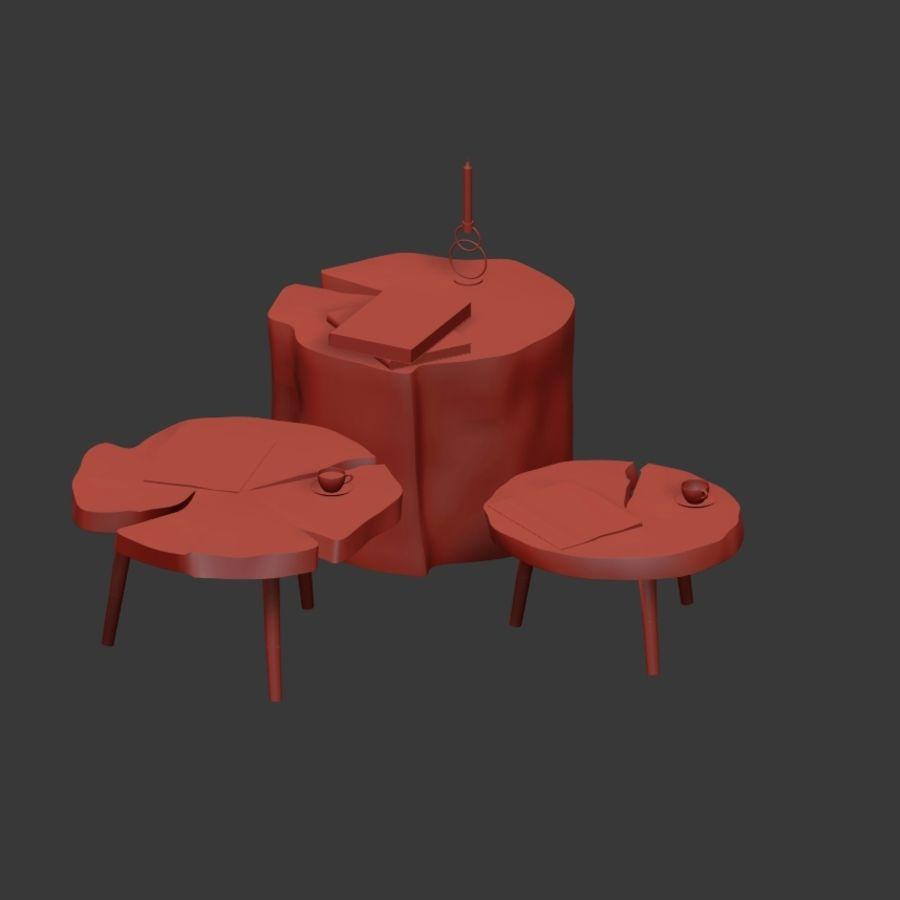 그루터기와 슬래브에서 커피 테이블 세트 royalty-free 3d model - Preview no. 10
