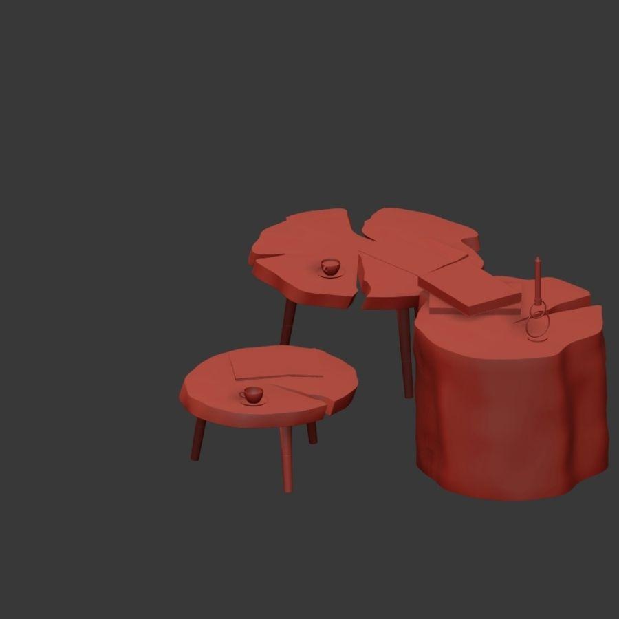 그루터기와 슬래브에서 커피 테이블 세트 royalty-free 3d model - Preview no. 28