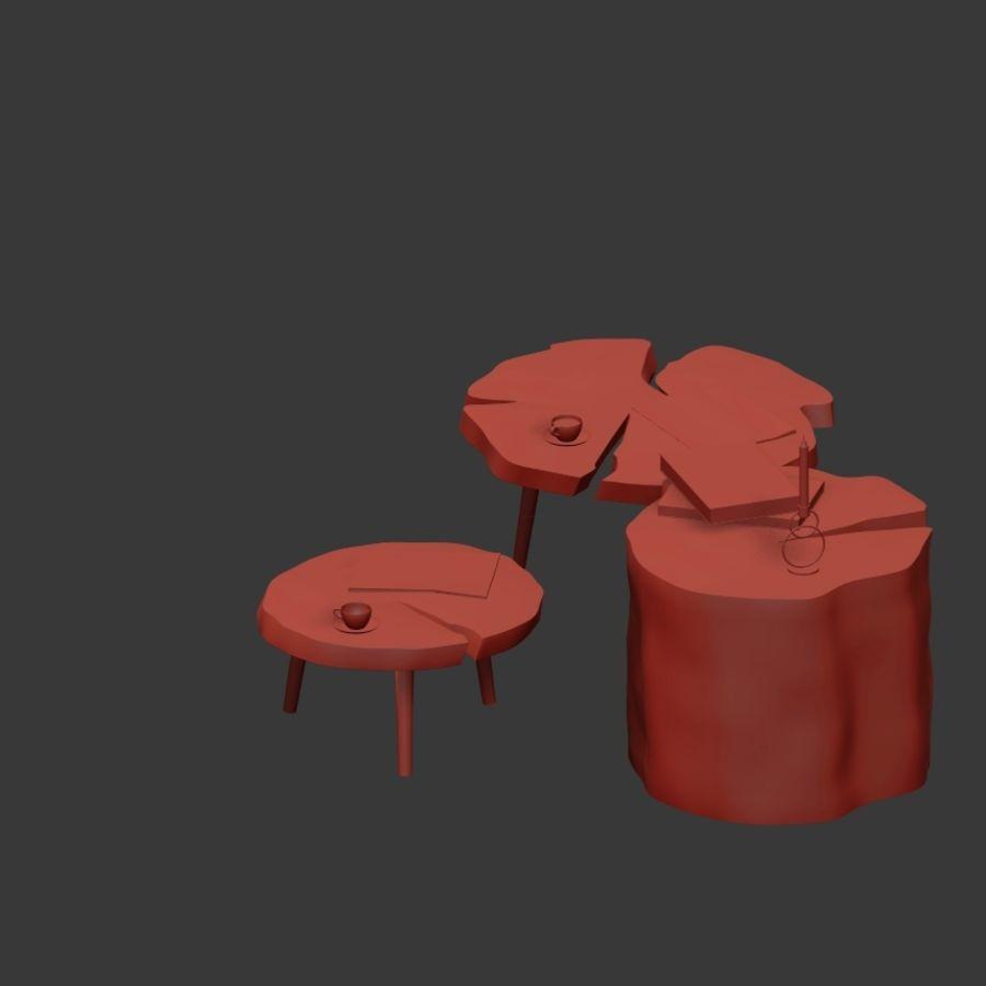 그루터기와 슬래브에서 커피 테이블 세트 royalty-free 3d model - Preview no. 27