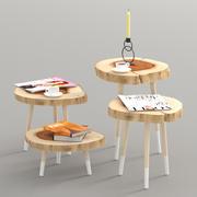 Журнальные столики на четыре ножки с деревянными ножками 3d model
