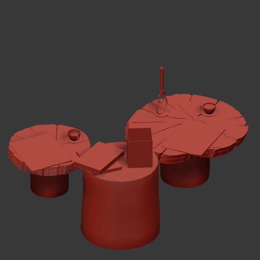 Set salontafels van platen en stronken royalty-free 3d model - Preview no. 24