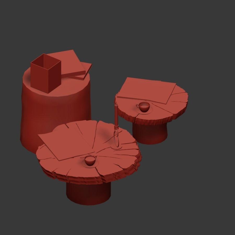 Set salontafels van platen en stronken royalty-free 3d model - Preview no. 15