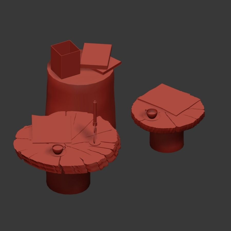 Set salontafels van platen en stronken royalty-free 3d model - Preview no. 13
