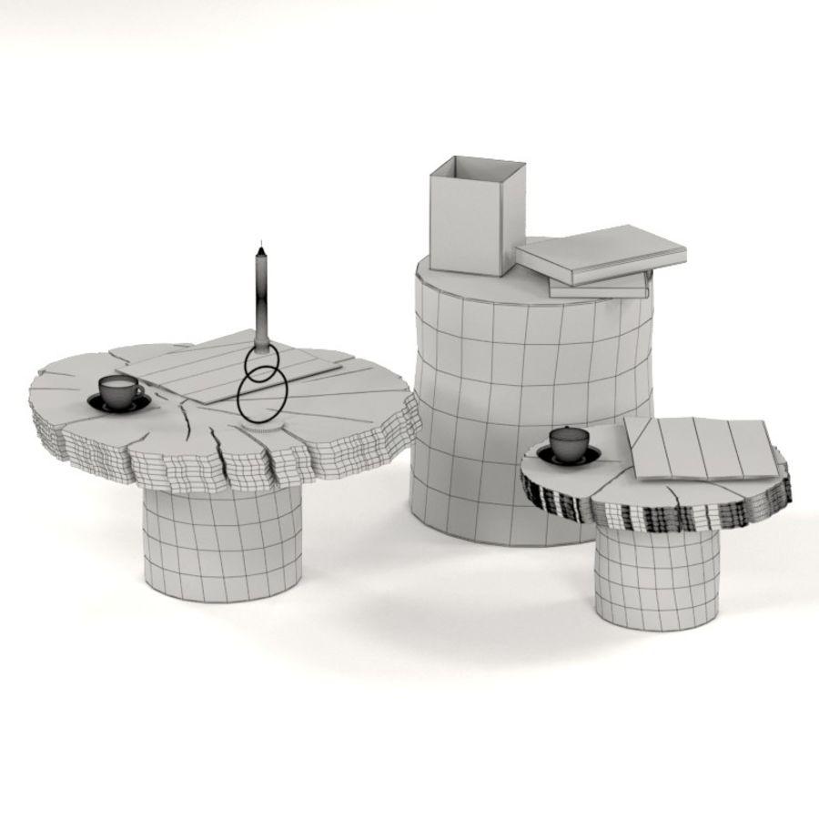Set salontafels van platen en stronken royalty-free 3d model - Preview no. 3