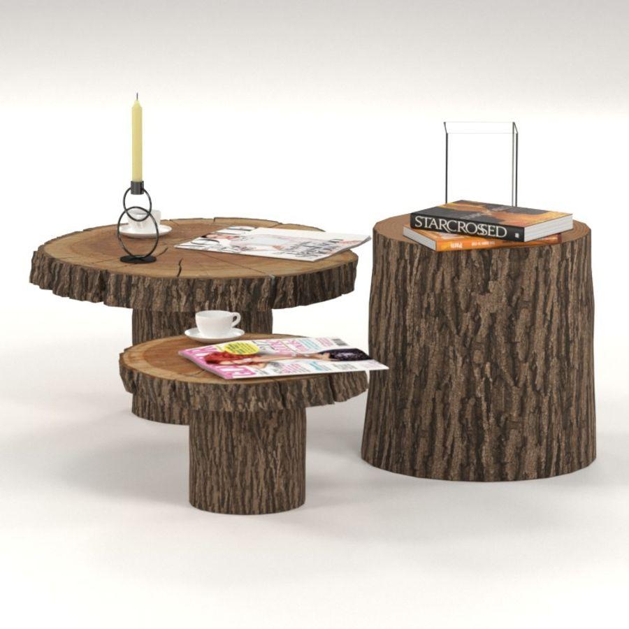 Set salontafels van platen en stronken royalty-free 3d model - Preview no. 2