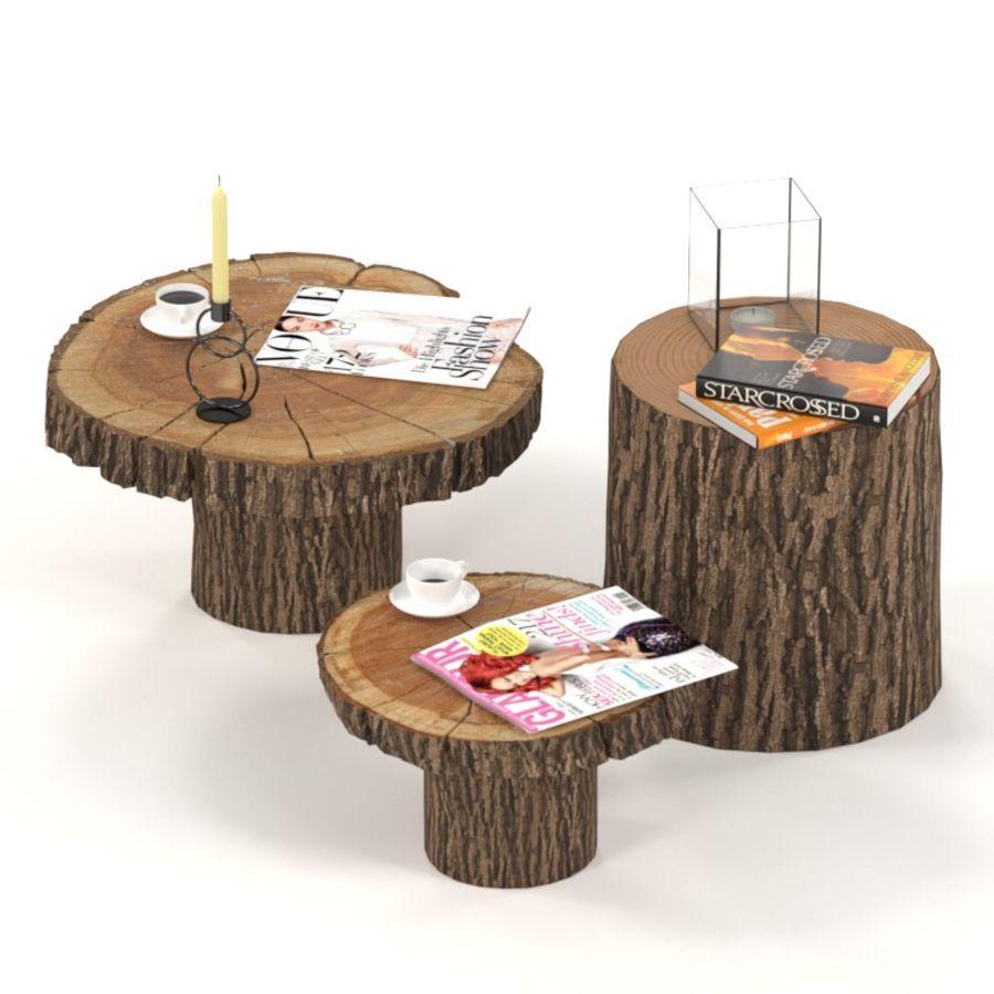 Set salontafels van platen en stronken royalty-free 3d model - Preview no. 1
