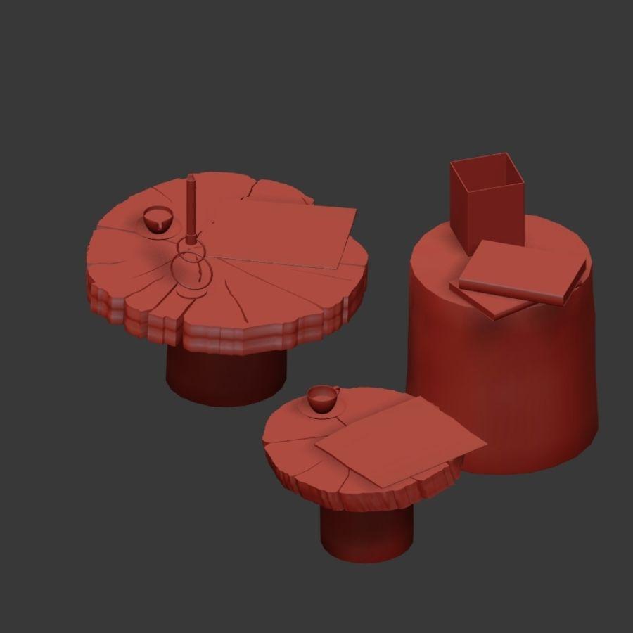 Set salontafels van platen en stronken royalty-free 3d model - Preview no. 32