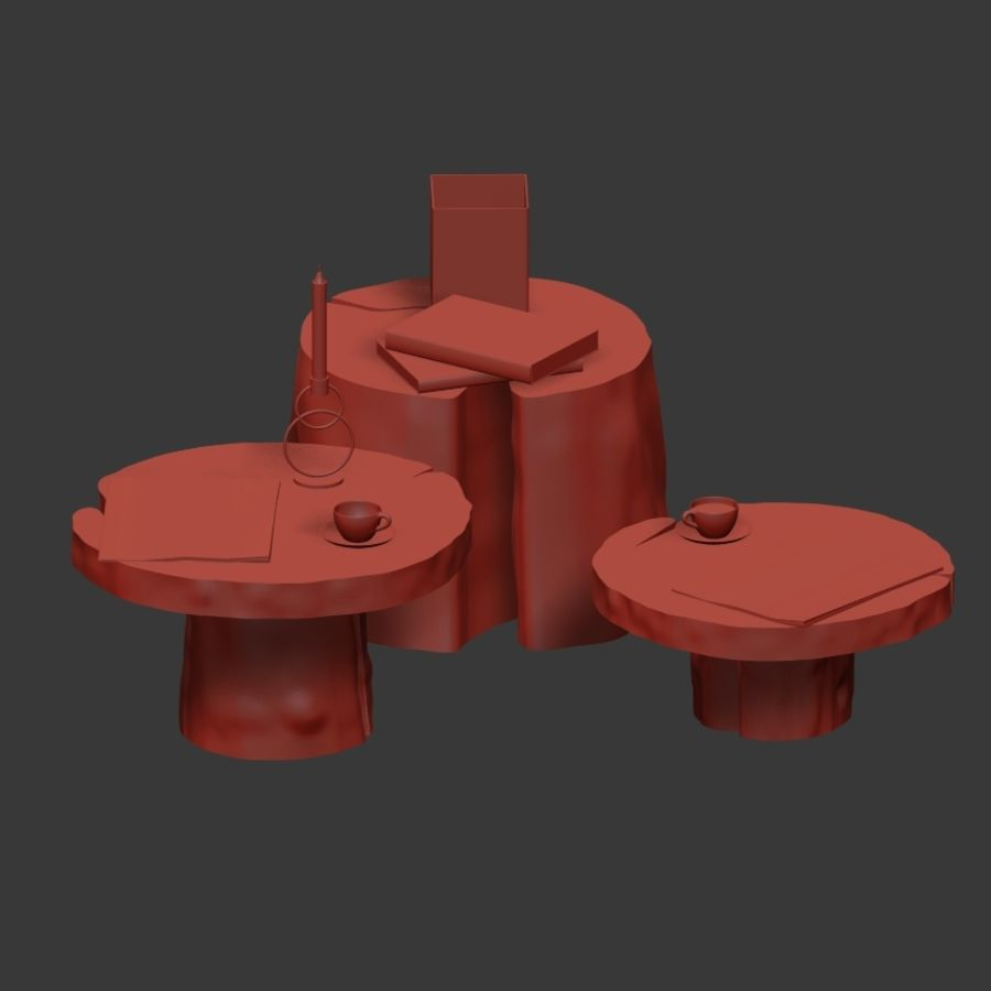 Slab and stump tables royalty-free 3d model - Preview no. 9