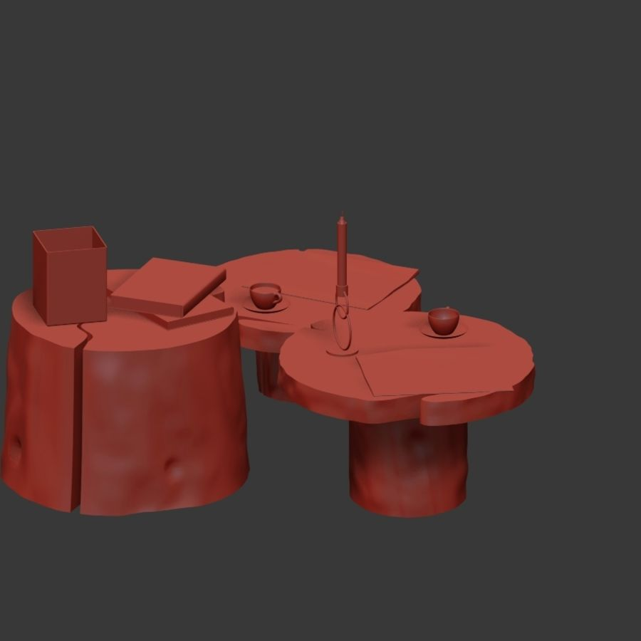 Slab and stump tables royalty-free 3d model - Preview no. 18
