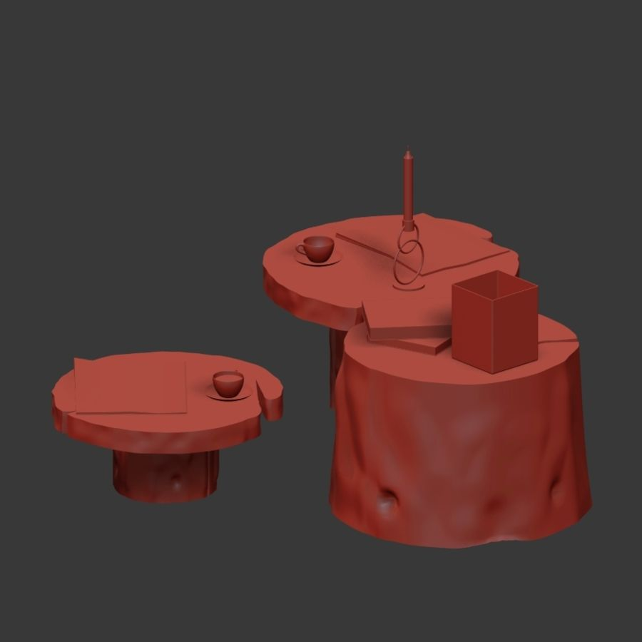 Slab and stump tables royalty-free 3d model - Preview no. 26