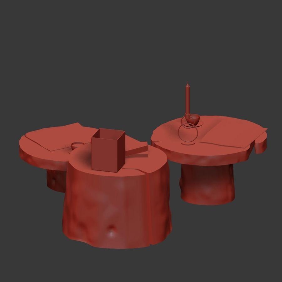Slab and stump tables royalty-free 3d model - Preview no. 22