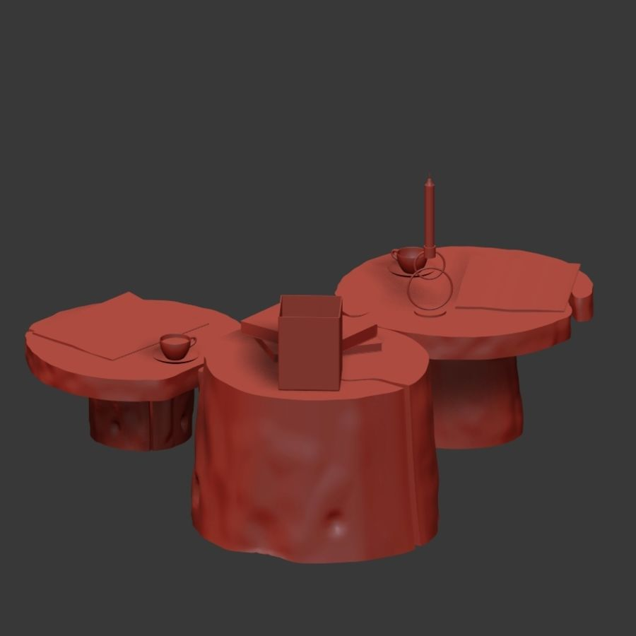 Slab and stump tables royalty-free 3d model - Preview no. 23