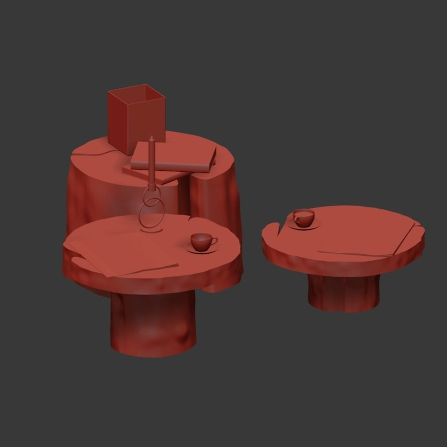Slab and stump tables royalty-free 3d model - Preview no. 12