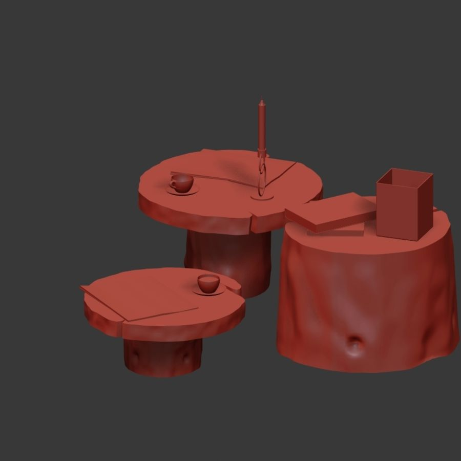 Slab and stump tables royalty-free 3d model - Preview no. 28