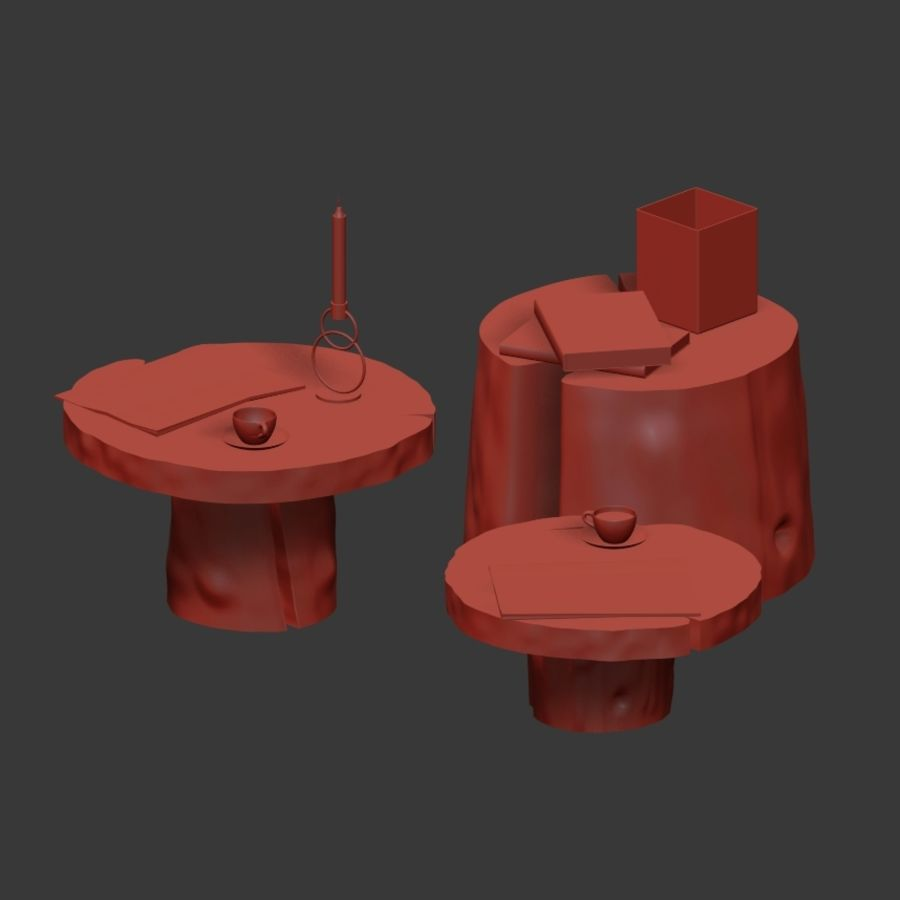 Slab and stump tables royalty-free 3d model - Preview no. 34